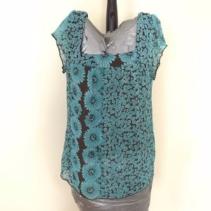 Trixxi Square neck floral turquoise brown top